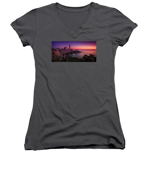 Women's V-Neck T-Shirt (Junior Cut) featuring the photograph Portland Head Lighthouse Sunrise  by Emmanuel Panagiotakis