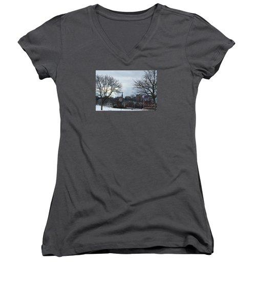 Portland, Maine, My City By The Bay Women's V-Neck T-Shirt (Junior Cut)