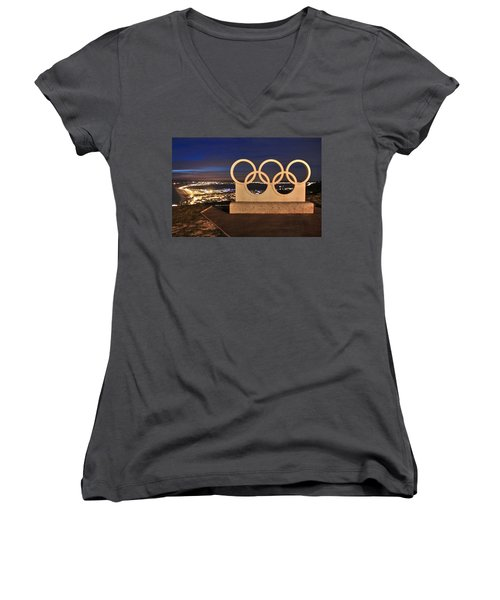 Portland Olympic Rings Women's V-Neck (Athletic Fit)