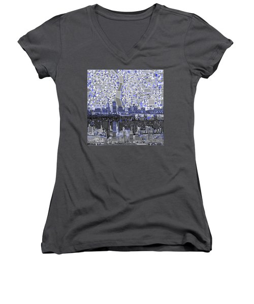 Portland Skyline Abstract Nb Women's V-Neck T-Shirt (Junior Cut) by Bekim Art
