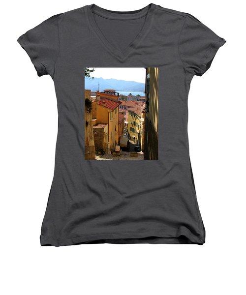 Portoferraio Elba Women's V-Neck T-Shirt (Junior Cut) by Carla Parris