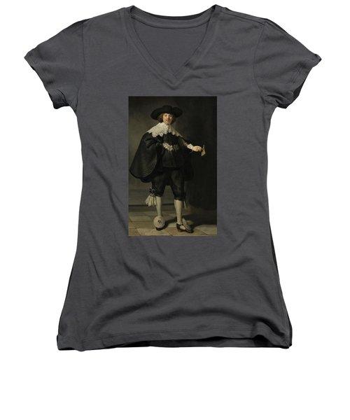 Portrait De Marten Soolmans, 1634 Women's V-Neck (Athletic Fit)