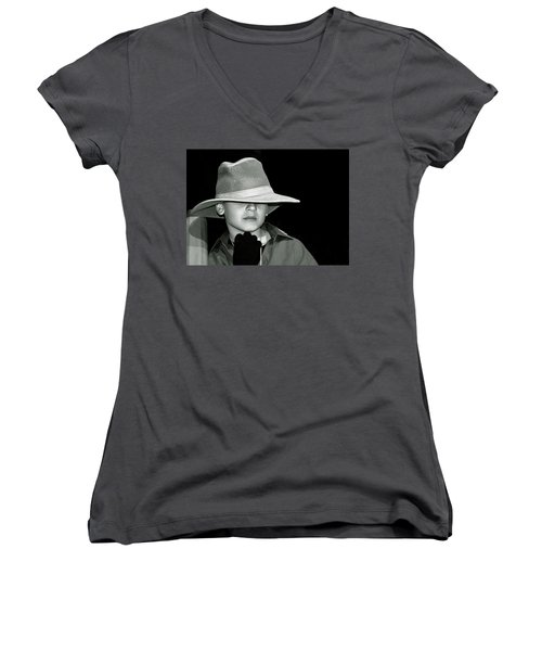 Portrait Of A Boy With A Hat Women's V-Neck T-Shirt (Junior Cut) by Alex Galkin