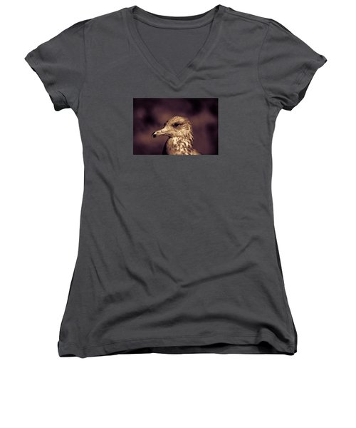 Women's V-Neck T-Shirt (Junior Cut) featuring the photograph Portrait Of A Gull by Lora Lee Chapman