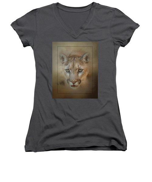 Portrait Of A Mountain Lion Women's V-Neck