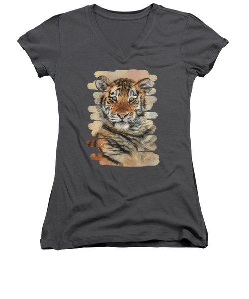Portrait Of A Tiger Cub Women's V-Neck