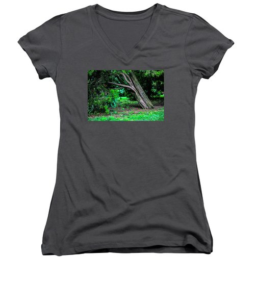 Women's V-Neck T-Shirt (Junior Cut) featuring the photograph Portrait Of A Tree by Madeline Ellis