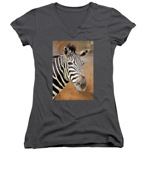 Portrait Of A Zebra Women's V-Neck T-Shirt