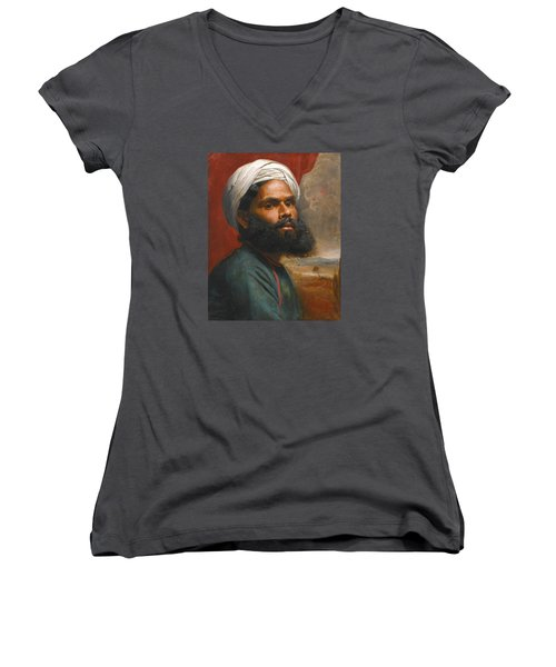 Women's V-Neck T-Shirt (Junior Cut) featuring the painting Portrait Of An Indian Sardar by Edwin Frederick Holt