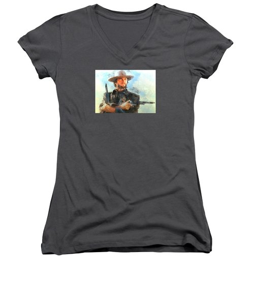 Women's V-Neck T-Shirt (Junior Cut) featuring the digital art Portrait Of Clint Eastwood by Charmaine Zoe