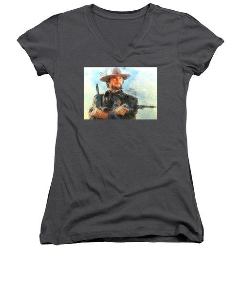 Portrait Of Clint Eastwood Women's V-Neck