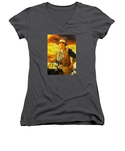 Women's V-Neck T-Shirt (Junior Cut) featuring the digital art Portrait Of John Wayne by Charmaine Zoe
