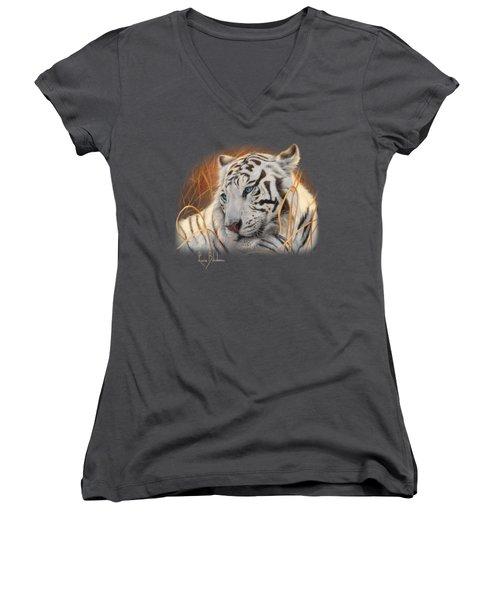Portrait White Tiger 1 Women's V-Neck T-Shirt (Junior Cut) by Lucie Bilodeau