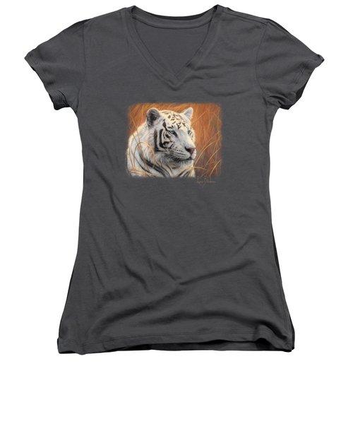 Portrait White Tiger 2 Women's V-Neck T-Shirt (Junior Cut) by Lucie Bilodeau