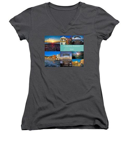 Postcard From Alassio Women's V-Neck T-Shirt (Junior Cut) by Karen Lewis