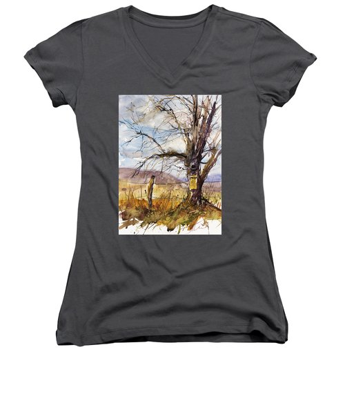 Posted Women's V-Neck T-Shirt (Junior Cut) by Judith Levins