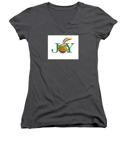 Pot Of Gold Joy Women's V-Neck T-Shirt (Junior Cut) by Greg Slocum