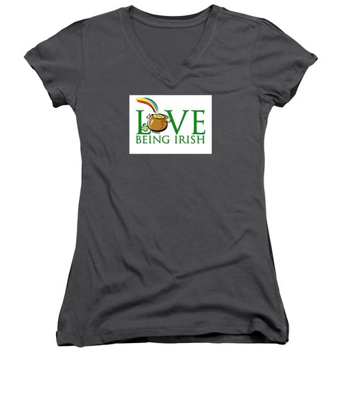 Pot Of Gold Love Being Irish Women's V-Neck T-Shirt (Junior Cut) by Greg Slocum
