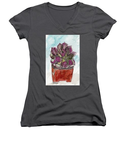 Potted Cactus Women's V-Neck (Athletic Fit)