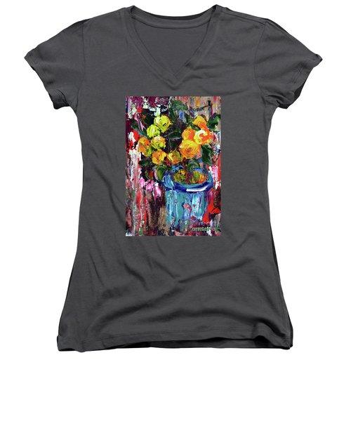 Potted Mini Oranges Women's V-Neck T-Shirt (Junior Cut) by Lynda Cookson