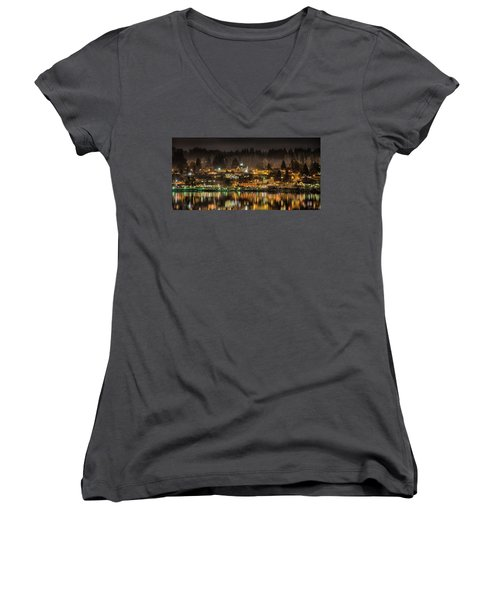 Poulsbo Waterfront 5 Women's V-Neck T-Shirt (Junior Cut) by Wally Hampton