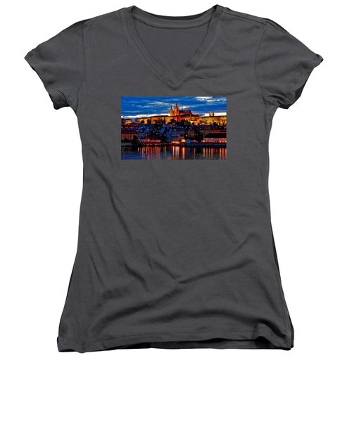 Prague Castle In The Evening Women's V-Neck (Athletic Fit)