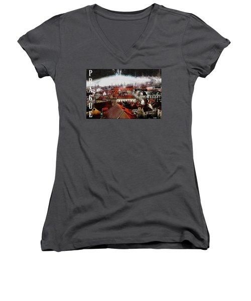 Prague Old Town Poster Women's V-Neck T-Shirt