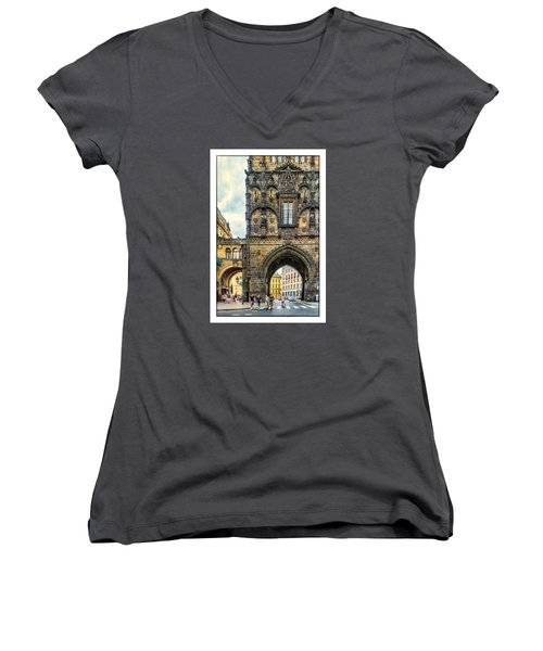 Prague Powder Tower  Women's V-Neck T-Shirt (Junior Cut) by Janis Knight