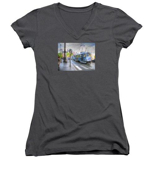 Praha Chehia Women's V-Neck T-Shirt (Junior Cut) by Yury Bashkin