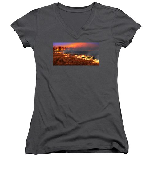 Women's V-Neck T-Shirt (Junior Cut) featuring the photograph Prairie Burn by Rod Seel