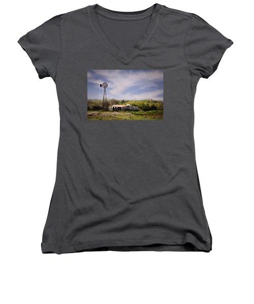 Women's V-Neck T-Shirt (Junior Cut) featuring the photograph Prairie Farm by Lana Trussell