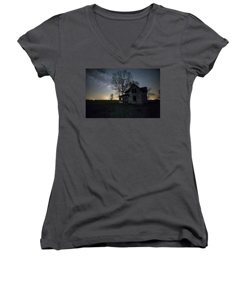 Women's V-Neck T-Shirt (Junior Cut) featuring the photograph Prairie Gold And Milky Way by Aaron J Groen