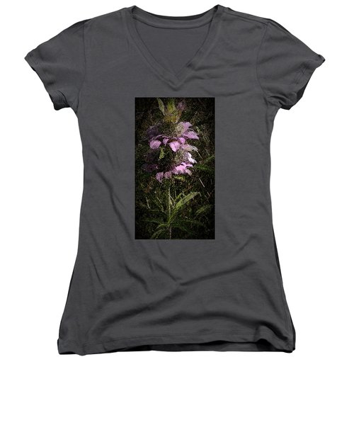 Women's V-Neck T-Shirt (Junior Cut) featuring the photograph Prairie Weed Flower by Donna G Smith