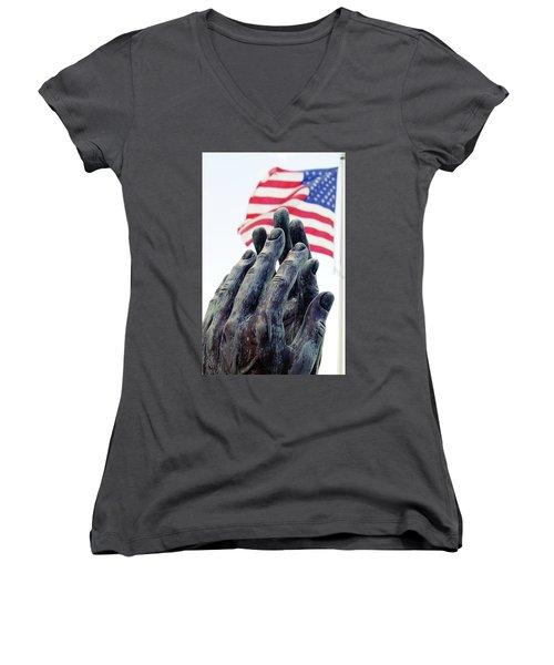 Pray For The Usa Women's V-Neck
