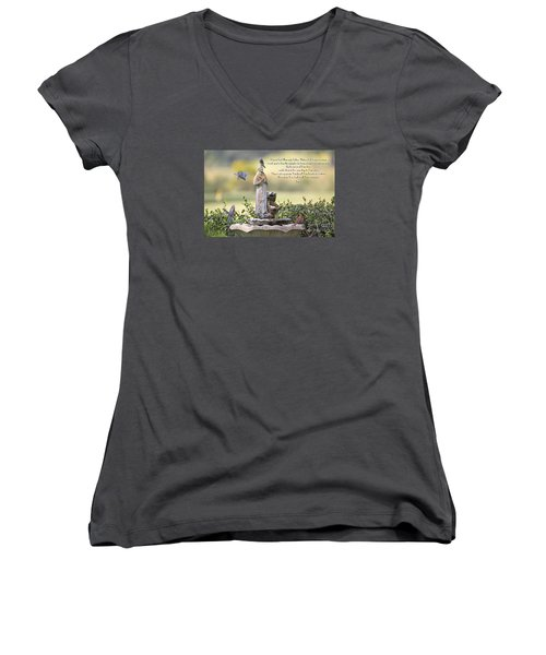 Prayer For The Animals That Bless Our Lives Women's V-Neck T-Shirt (Junior Cut) by Bonnie Barry
