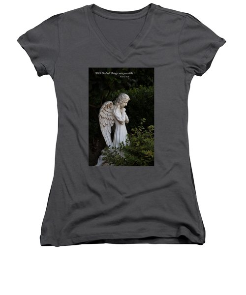 Women's V-Neck T-Shirt (Junior Cut) featuring the photograph Praying Angel With Verse by Kathleen Scanlan