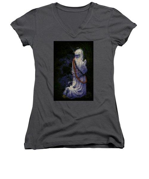Praying Women's V-Neck T-Shirt (Junior Cut) by Lori Seaman