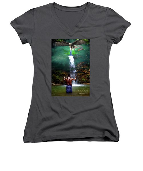 Women's V-Neck T-Shirt (Junior Cut) featuring the photograph Praying To The Spirits by Al Bourassa