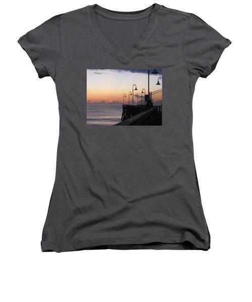 Pre-sunrise On Daytona Beach Pier   Women's V-Neck T-Shirt
