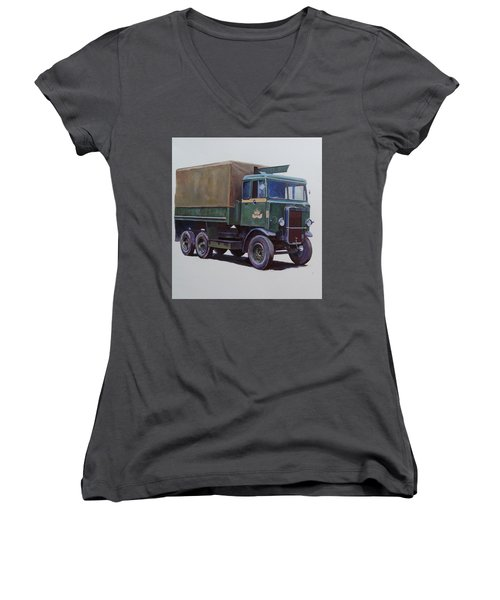 Women's V-Neck T-Shirt (Junior Cut) featuring the painting Pre-war Leyland Wrecker. by Mike Jeffries