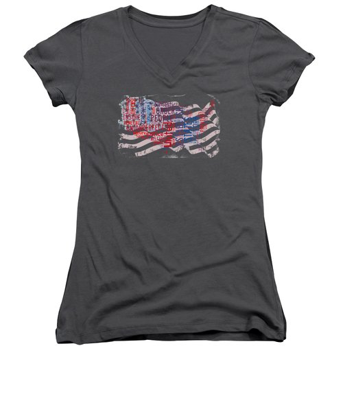 Preamble To The Constitution On Us Map Women's V-Neck T-Shirt (Junior Cut) by Paulette B Wright