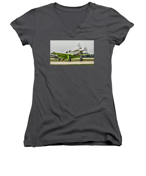 Precious Metal Final Flight Women's V-Neck T-Shirt (Junior Cut) by Alan Toepfer
