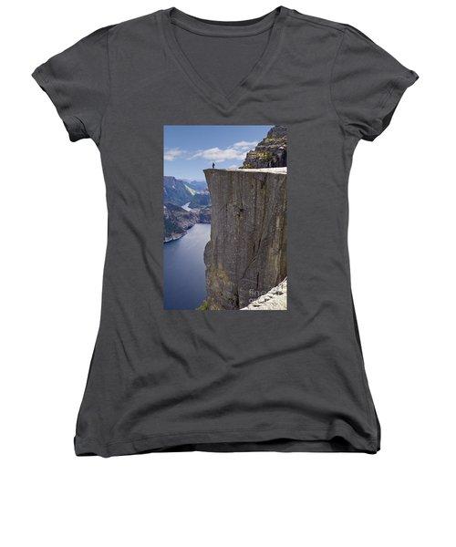 Preikestolen Women's V-Neck T-Shirt (Junior Cut) by Heiko Koehrer-Wagner
