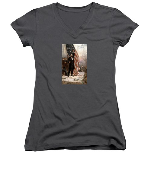 President Abraham Lincoln Giving A Speech Women's V-Neck (Athletic Fit)