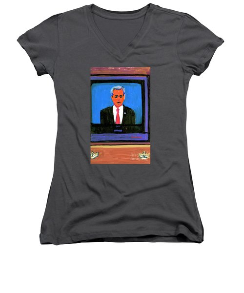 President George Bush Debate 2004 Women's V-Neck T-Shirt (Junior Cut) by Candace Lovely