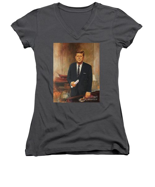 Women's V-Neck T-Shirt (Junior Cut) featuring the painting President John F. Kennedy by Noe Peralez