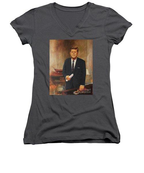 President John F. Kennedy Women's V-Neck (Athletic Fit)