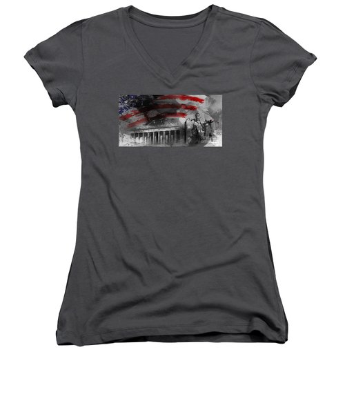 Women's V-Neck T-Shirt (Junior Cut) featuring the painting President Lincoln  by Gull G