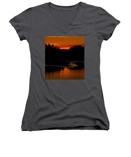 Presumpscot Sunset No.101 Women's V-Neck T-Shirt
