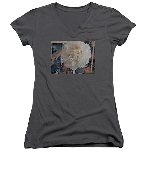 Women's V-Neck T-Shirt (Junior Cut) featuring the photograph Pretty As A Print by Nancy Kane Chapman